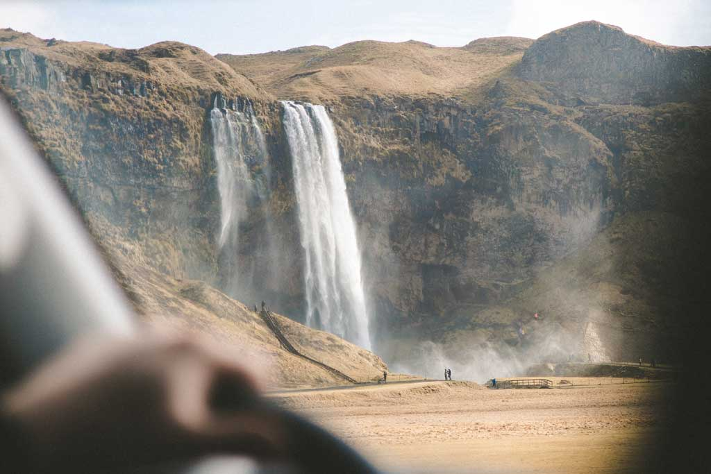 iceland waterfalls car