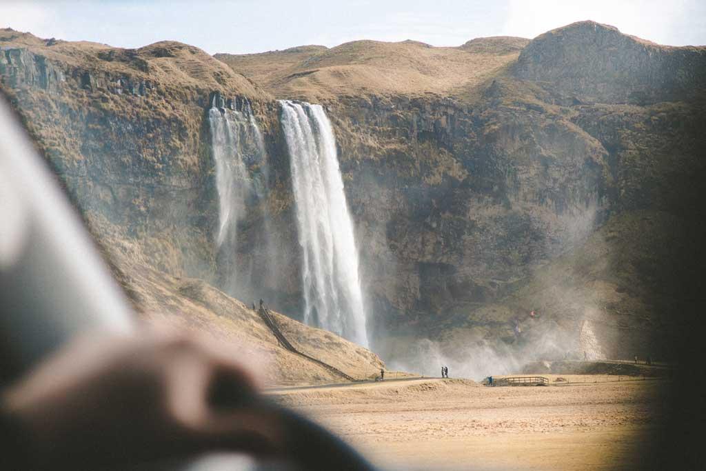 iceland waterfalls car