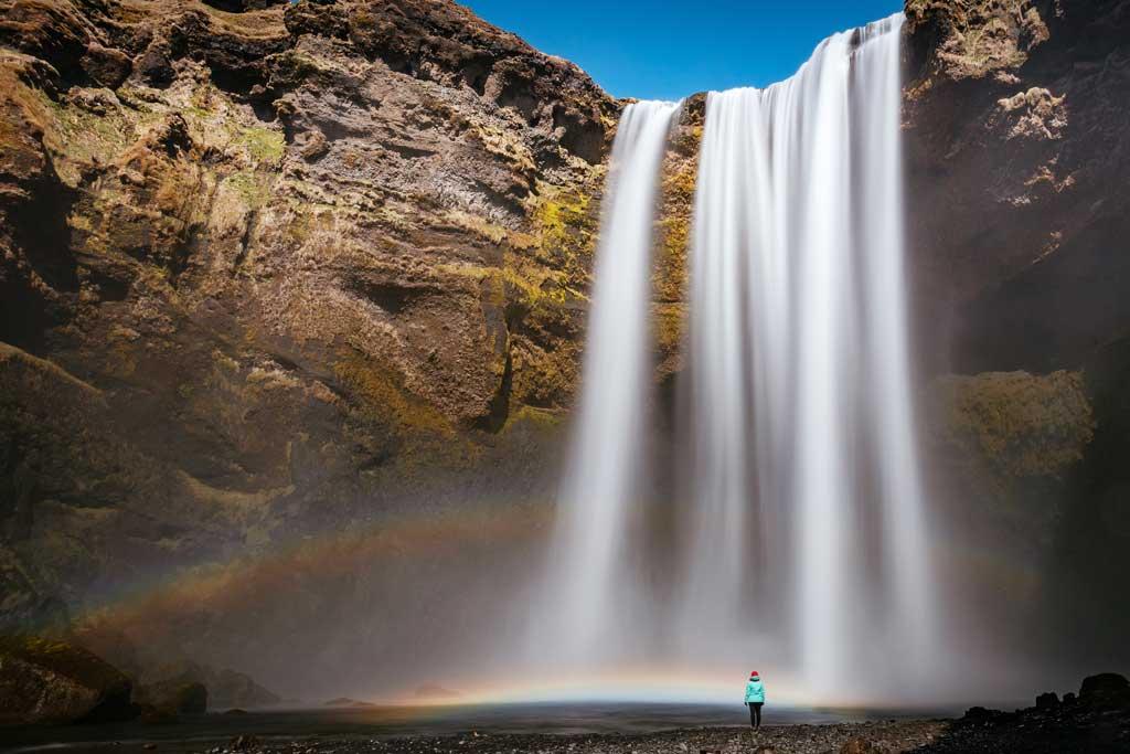 iceland waterfall girl